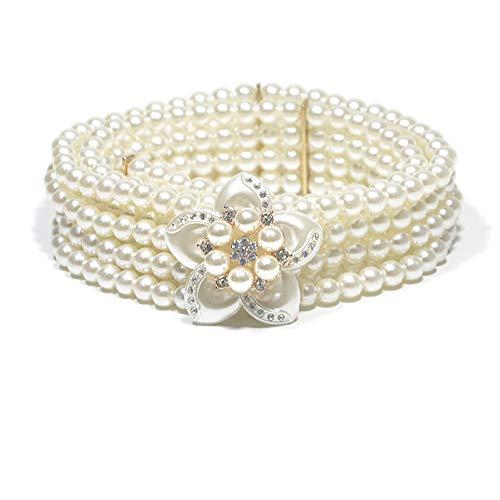 TMSHEN Women's Wedding Belt Classic Elegant Elastic Artificial Pearls Waist Band with Rhinestones Flower White Waist Chain Belt