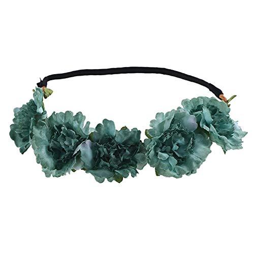 (Flower Crown Headband Accessories For Girls Floral Hoop On Head Bride Wedding Wreath Headband Hair In)