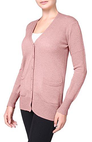 e Cashmere Boyfriend Open Front Cardigan Sweater Mauve M (Pure Cashmere Cardigan)