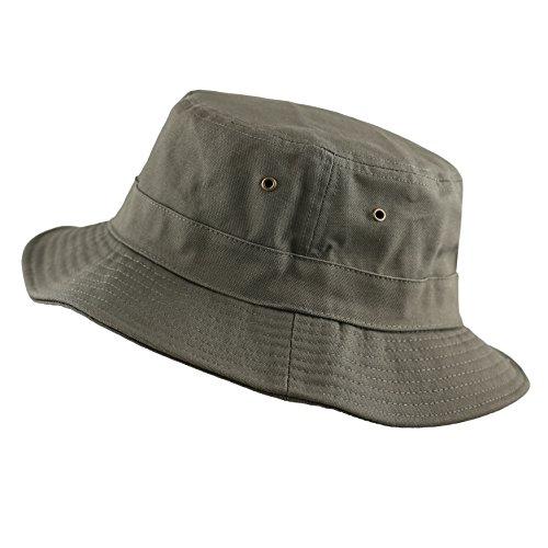 - 100% Cotton Canvas Packable Summer Travel Bucket Hat (S/M, Olive)