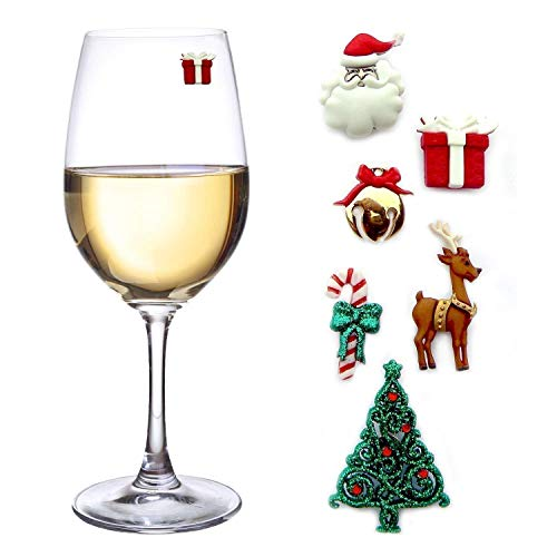 Christmas Wine Glass Charms - Set of 6 Magnetic Drink Markers Great for Stemless Glasses - Winter Holiday Hostess Gift by Simply Charmed