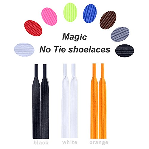 000cf5618bc4 No Tie Shoelaces Elastic expand lacing system Lock clip Shoe laces for  Women Kids Men -Slip On Shoelaces Fits Sneakers Running Casual (black white  orange)
