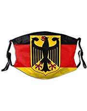 Aklakk Flag of Germany with Crest Face Mask with 2 Filters,Reusable Adjustable Unisex Mouth Cover for Women Men Teens Adjustable