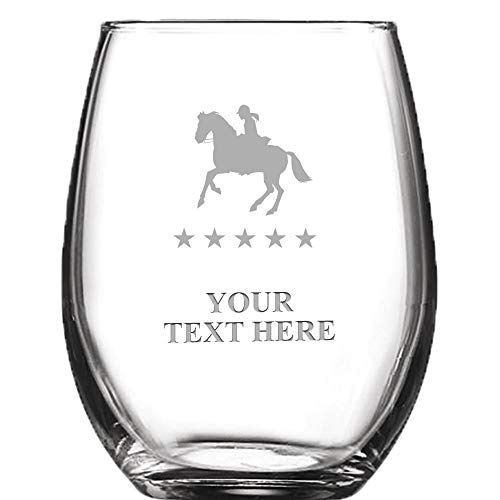 (Equestrian Horse Personalized Wine Glass - 9 oz Custom Soiree Stemless Horse Show Wine Glass Gift Award)