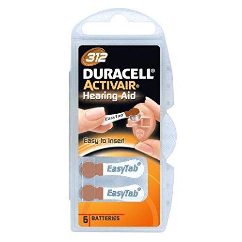 Duracell EasyTab/Activair Type 312Hearing Aid Batteries Zinc Air...