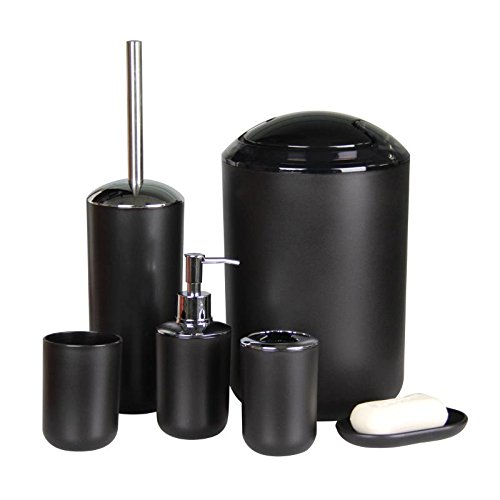 IMAVO Bathroom Accessories Set,6 Pcs Plastic Gift Set Toothbrush Holder,Toothbrush Cup,Soap Dispenser,Soap Dish,Toilet Brush Holder,Trash Can,Tumbler Straw Set Bathroom (Black)
