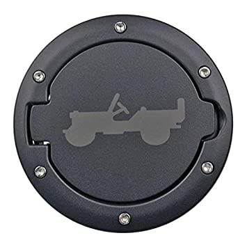 Oritech JK Gas Cap Cover Fuel Tank Door Willys Off-Road Style JK Accessories 4 Door /& Unlimited Rubicon Sahara Sports for Jeep Wrangler 2007-2017