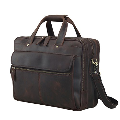 Texbo Vintage Genuine Cowhide Leather Briefcase Shoulder Bag Fit 15'' Laptop Many Pockets by Texbo