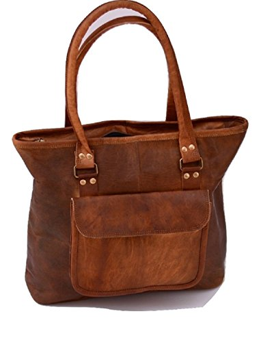 Handmade 17 Women Vintage Style Genuine Brown Leather Tote Shoulder Shoppers Bag Handmade Purse