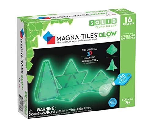 Magna-Tiles 16-Piece Glow in The Dark Set – LED Light Included – The Original, Award-Winning Magnetic Building Tiles – Creativity and Educational – STEM Approved ()