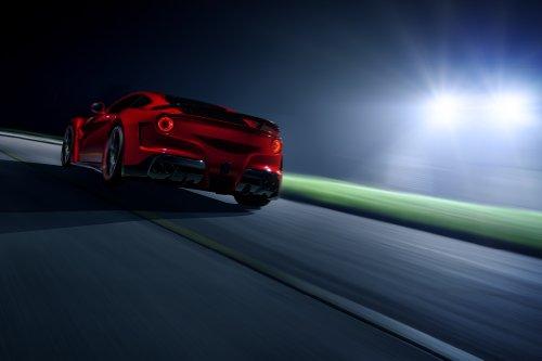 "Novitec N-Largo based on Ferrari F12berlinetta (2013) Car Art Poster Print on 10 mil Archival Satin Paper Red Rear Side Night Static View 36""x24"""