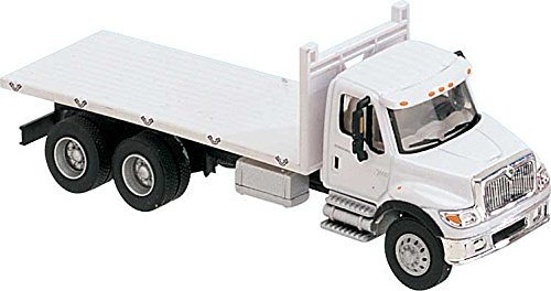 Walthers International(R) 7600 3-AXLE Flatbed Truck - Assembled -- White with Railroad Maintenance-of-Way Logo Decals