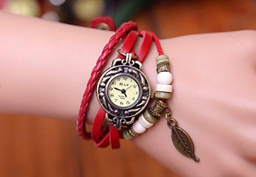 Domire BeautyLife Weave Wrap Around Leather Bracelet Lady Woman Wrist Watch Red Leaf