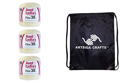 Aunt Lydia's Fine Size 20 Crochet Thread (3-Pack) Natural 181-0226 with 1 Artsiga Crafts Project Bag Fine Crochet Thread