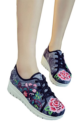 Women Flats Canvas Flower Embroidery Lace Up Woman Casual Cotton Cloth Platforms Shoes Sapato Feminino Size 34-41 Black - Lewis John Eight Phase