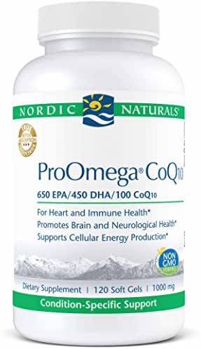 Nordic Naturals ProOmega CoQ10 - Fish Oil, 650 mg EPA, 450 mg DHA, 100 mg CoQ10, Promotes Neurological Health and Cellular Energy Production*, 120 Soft Gels