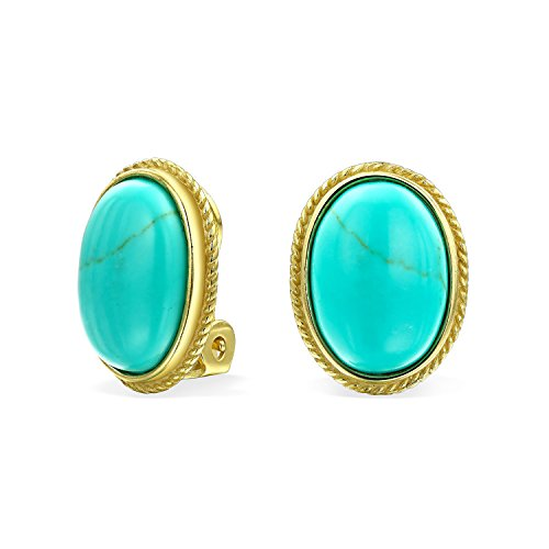 (7Ct Oval Stabilized Turquoise Rope Cable Bezel Setting 14K Gold Plated Sterling Silver Clip On Earrings Clip Is Alloy)
