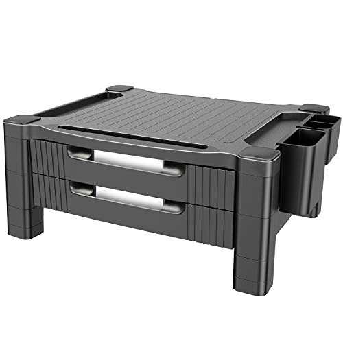 Monitor Stand Riser with Dual Storage Drawers – Adjustable Computer Screen Riser Printer Stand, Desk Organizer with Phone and Tablet Slot – Removable Holder for Pen Pencil Office Supplies by HUANUO