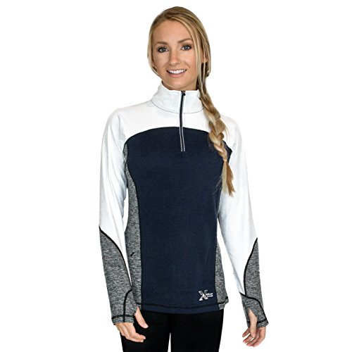 Navy 1/4 Zip Sweater (WoolX X561 Womens Rory 1/4 Zip Sweater - Deep Navy Melange -)