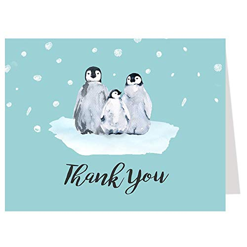 Little Penguin Thank You Cards, Baby Shower, Baby Shower Thank You Cards, Blue, Black, Gender Neutral, Boy Baby Shower, Snow, Winter Baby, 50 Pack Folding Thank You Notes with White Envelopes