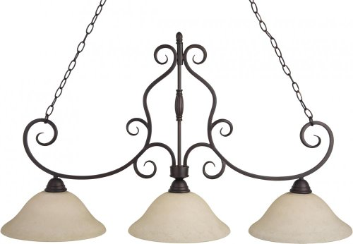 Maxim 12208FIOI Manor 3-Light Pendant, Oil Rubbed Bronze Finish, Frosted Ivory Glass, MB Incandescent Incandescent Bulb , 60W Max., Dry Safety Rating, Metal Shade Material, Rated Lumens