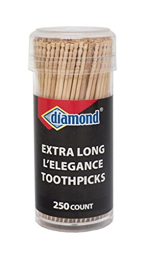 Diamond Specialty Toothpicks Long L'Elegance, 250 Count Vial Long Wooden Toothpicks for Appetizers, Cocktails, Teeth, Crafts -