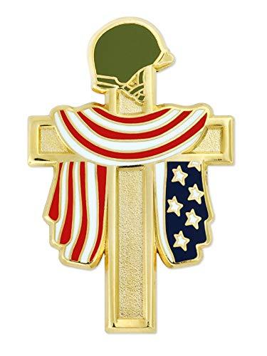 PinMart Fallen Heroes Gold Cross American Flag Military Veteran Lapel Pin