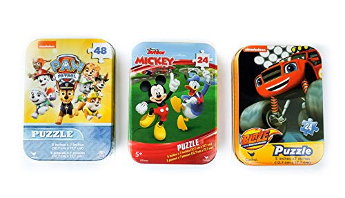 3 Collectible Puzzle Tins for Boys or Girls Ages 5+ - Disney Junior and Nick Jr. Bundle Featuring Mickey Mouse and Donald Duck, Paw Patrol, and Blaze and The Monster Machines (24 or 48 Pieces Each) -