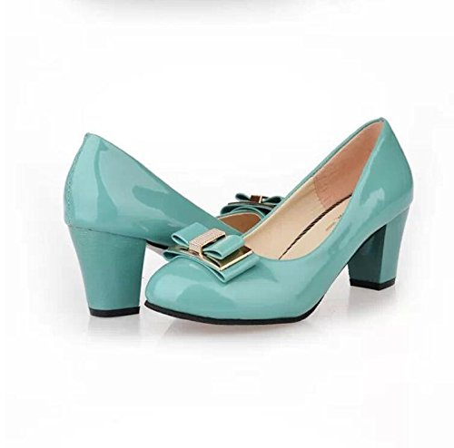 Muzzle Thirty Shoes High five Round KHSKX Bowknot Heeled Shallow With Sweet Thick Foot Buckle TqE7Rz