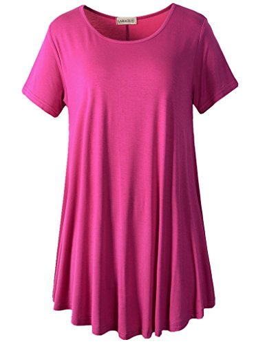 LARACE Women Short Sleeves Flare Tunic Tops for Leggings Flowy Shirt (3X, Fushia)