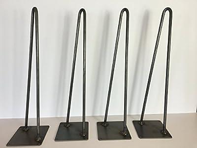 Hairpin Leg, Metal Table Leg Set of 4 Modern Industrial 2-Rod Hairpin Leg Base - Raw Steel - 12 inch high,16 inch,18 inch,20 inch,28 inch,34 inch high - SHIPS FREE IN 48 Hrs
