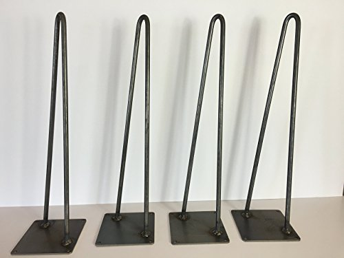 Hairpin Leg, Metal Table Leg Set of 4 Modern Industrial 2-Rod Hairpin Leg Base - Raw Steel - 12 inch high,16 inch,18 inch,20 inch,28 inch,34 inch,36 inch ,40 inch high - SHIPS FREE IN 48 Hrs