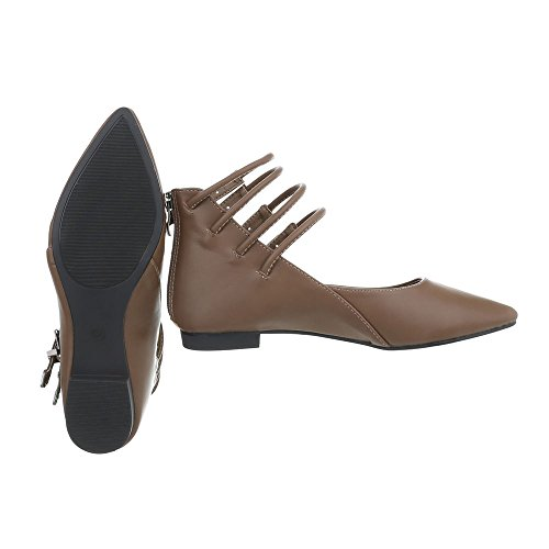 Schuhcity24 Damen Schuhe Pumps Riemchen Hellbraun