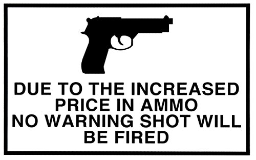 (1 Pc Professional Popular Gun Warning Signs 1-Side Printed Plastic Declare Protection Size 11