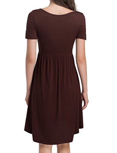 Brown Flare HAIDE99 V Swing Neck High Summer Tunics Loose Tops Low Pleated Womens Dress Casual Rq4P6rqF