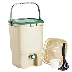 Chef's Star 5 Gallon Air Tight Indoor Bokashi Bucket Kitchen Compost Kit