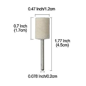 Shintop 12pcs Felt Point Polishing Tool Wool Felt Buffing Mounted Point (Cylindrical, White)