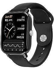 ساعة سمارت بلوتوث رياضية DT36 1.75 بوصة بشاشة لمس كاملة مع حزام سيليكون لتتبع الصحة واللياقة البدنية لهواتف الاندرويد واي او اس - اسود
