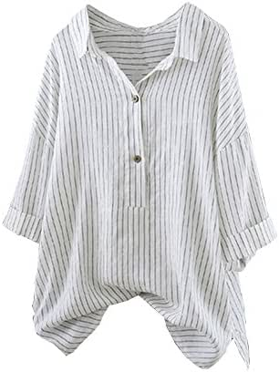 NOMUSING T-Shirts for Women Plus Size Button Up Pullover Striped Top Tunic Blouse Sweatshirt Slouchy Loose Outerwear