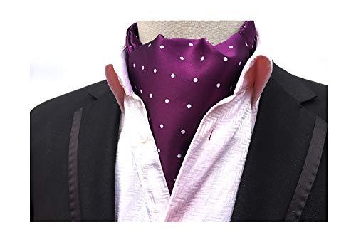 Men's Purple Polka Dot Design Self Cravat Tie Casual Business Meeting Silk Ascot