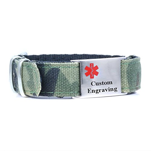 MyIDDr Camouflage Sport Medical ID Bracelet with Free Custom Engraving - Soft Nylon - Camouflage - Ice Id Bracelets