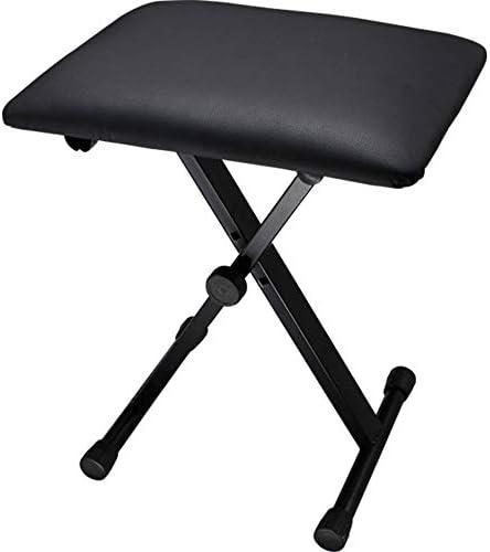 アーティストピアノベンチスツール ピアノ古筝ギターキーボードのための調節可能な1人用のピアノベンチの汎用計測器チェア3位置 (色 : ブラック, サイズ : 40x30x51cm)