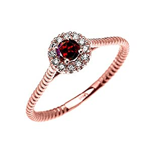 10k Rose Gold Dainty Halo Diamond and Solitaire Garnet Rope Design Promise Ring