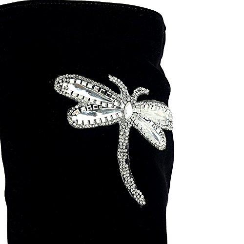De Femmes Mode En Noir Antidérapantes Sxc02352 Des Bottes Adeesu Brodé Daim EASq5pn