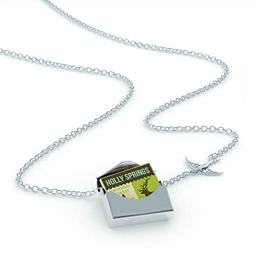 NEONBLOND Locket Necklace National US Forest Holly Springs National Forest in a Silver Envelope