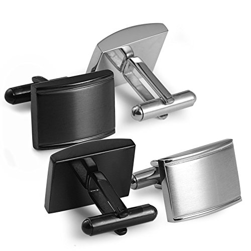 Jstyle Jewelry Stainless Steel Cufflinks for Men Unique Business Wedding Black White
