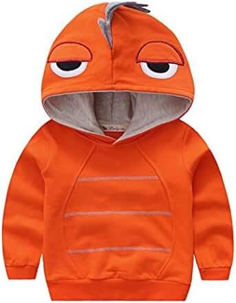 Canvos Boys Dinosaur Long Sleeve Hoodie Little Kids Pullover Hooded Sweatshirt