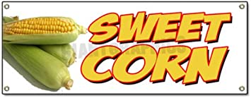 Advertising Flag, Sweet Corn 13 oz Heavy Duty Vinyl Banner Sign with Metal Grommets Store New Many Sizes Available