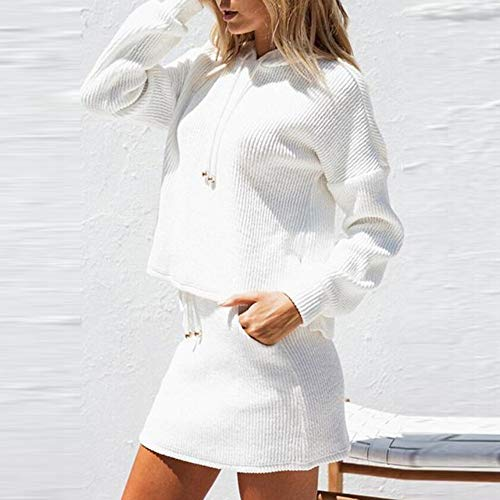 Donna Pezzi Manica Cappuccio Camicette Lunga Set Tascabile Lunghe di Tasca Shirt Due Gonna Bianco Elegante Tops Vendita Autunno Liquidazione Casual T di Maniche qwxFEpOC