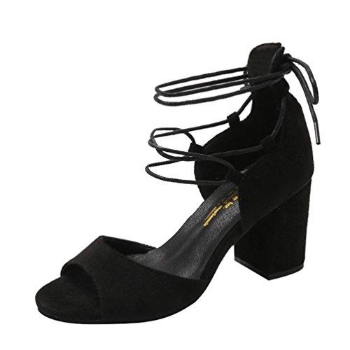 Pantoufles Mode Bouche Chaussures JIANGfu Sandales Rome Noir Femme de Plumes de Partie Talons Été Plat Sandales Hauts Bohème Poisson Cheville Bretelles Chaussures RnXSnq
